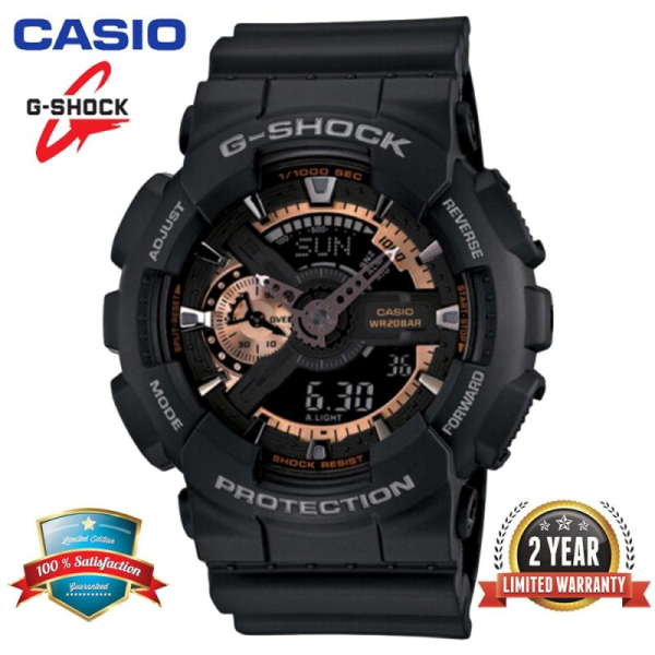 (In Stock) Original  G Shock GA-110RG-1A Men Sport Watch Duo W-Time 200M Water Resistant Shockproof and Waterproof World Time LED Auto Light Wist Sports Watch with 2 Year Warranty GA110-GA-110 Rose Gold Black Malaysia