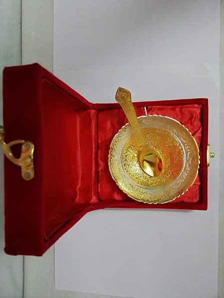 Golden - Silver Plated Brass Bowl for Gift, Return Gift for Wedding and Housewarming
