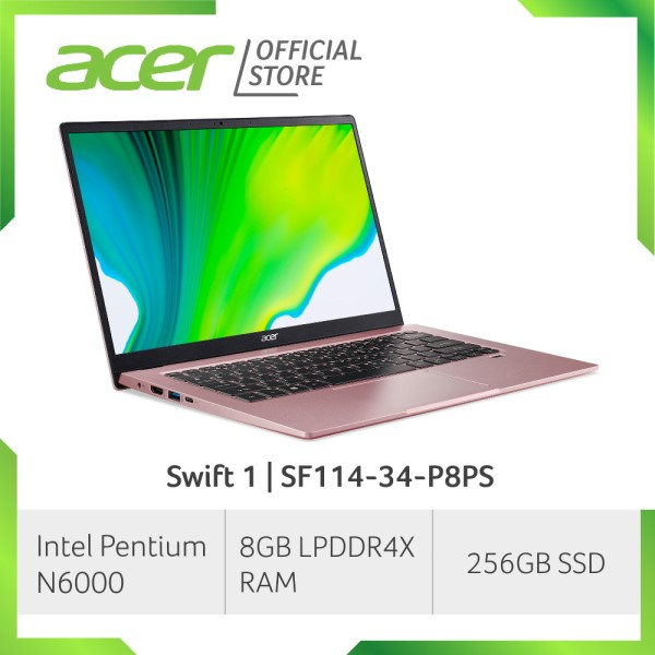 [2021 NEW MODEL] Acer Swift 1 SF114-34-P8PS 14 Inch FHD IPS Thin and Light Laptop | 8GB LPDDR4X RAM