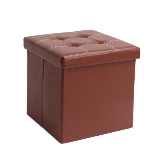PU leather Ottoman storage Space Saving stool shoe bench folding footrest sofa stool box