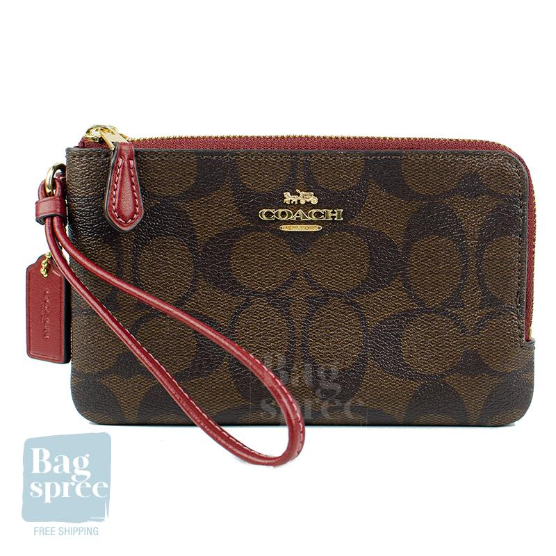 *Authentic & Brand New* Coach Double Corner Zip Wristlet In Signature Canvas F87591 [Gift Receipt Provided] [TOP PICKS] [NEWIN] [SIG]