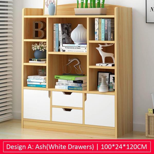 Ash(White Drawers) Multi-Purpose Wooden Book Shelf - Design A