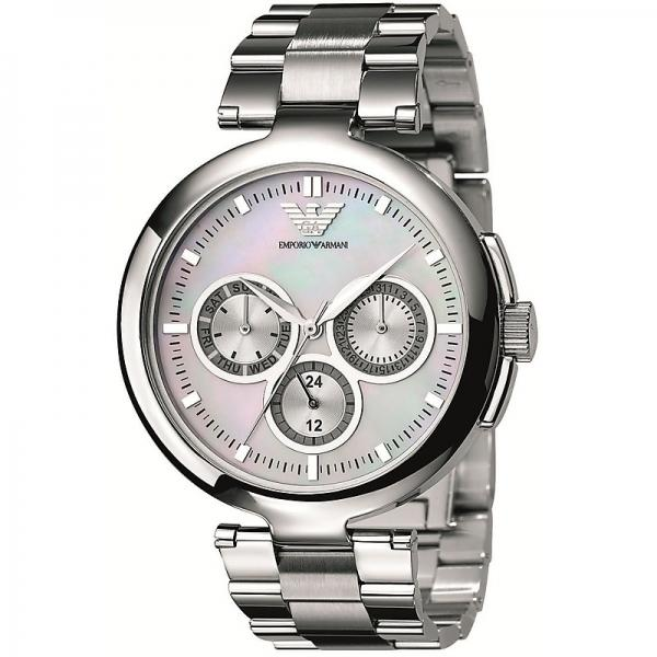 [new] Emporio Armani Chronograph Ladies Silver Metal Bracelet Watch 35m Dial Ar0734 By Watch Centre