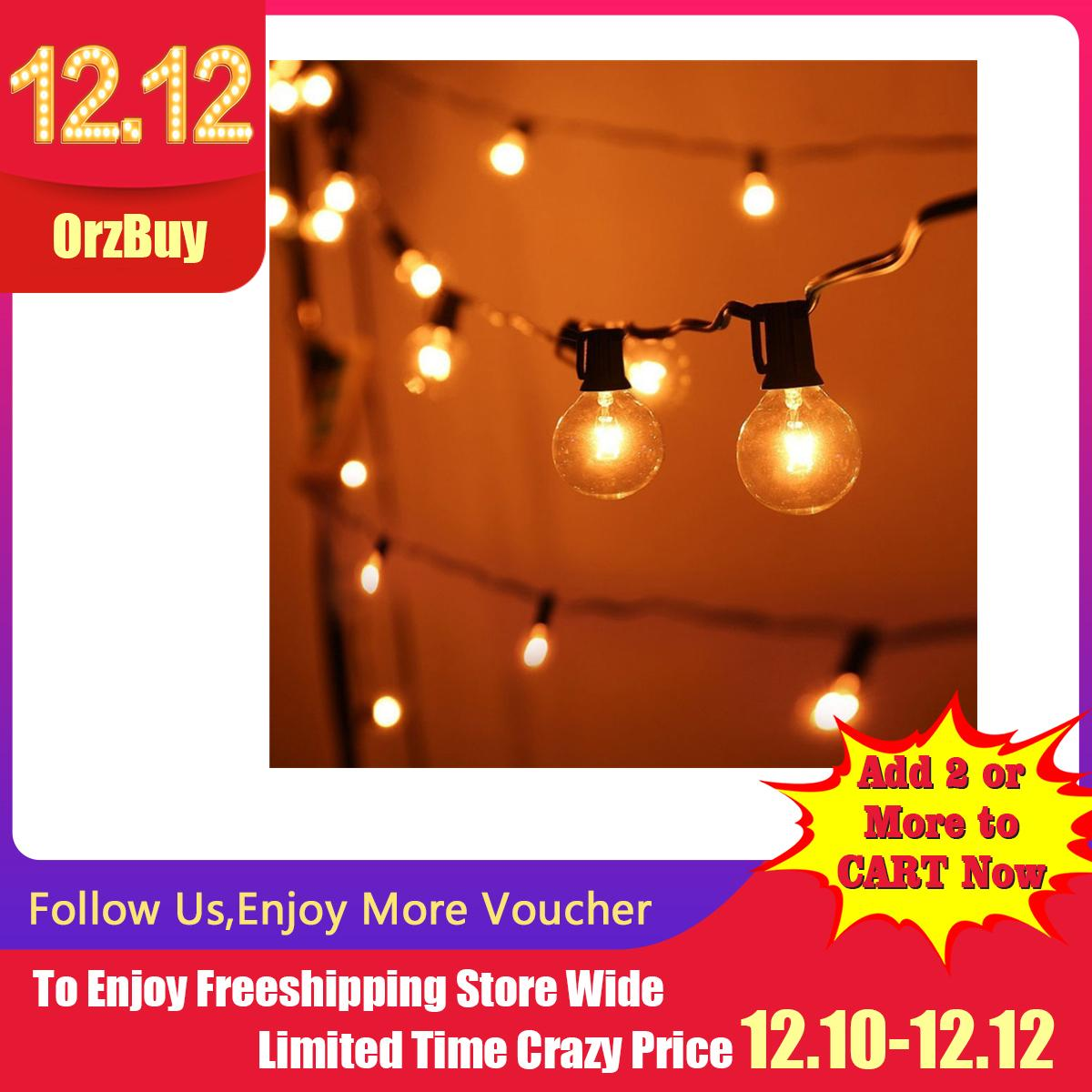 OrzBuy Outdoor Garden String Lights, 25ft G40 Garden Patio Outside String Lights,Waterproof Indoor/Outdoor String Lights, Great Garden Terrace Patio Outside Xmas Lights (25 Bulbs,3 Replacement Bulbs) - intl Singapore