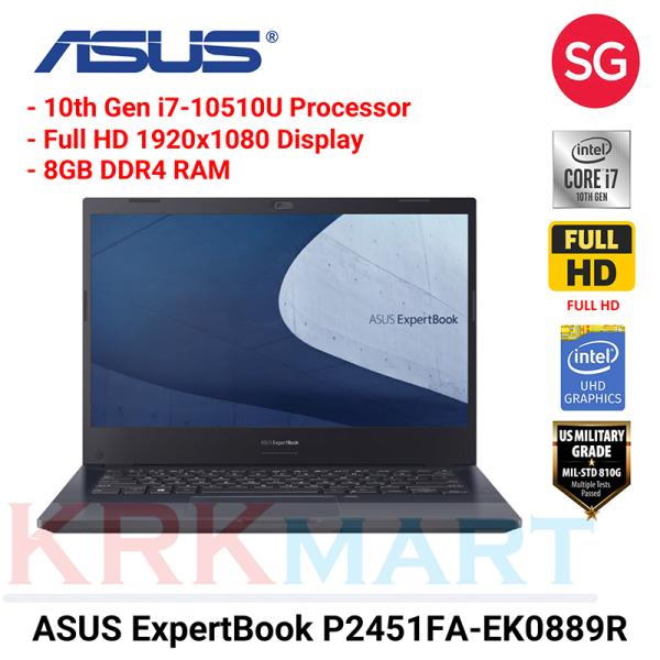 "ASUS ExpertBook P2451FA-EK0889R / i7-10510U / 8GB RAM / 512MB PCIE SSD / 14"" FHD / Wifi 6 / Win10 Pro / Chiclet keyboard / 3 Years local-onsite warranty"