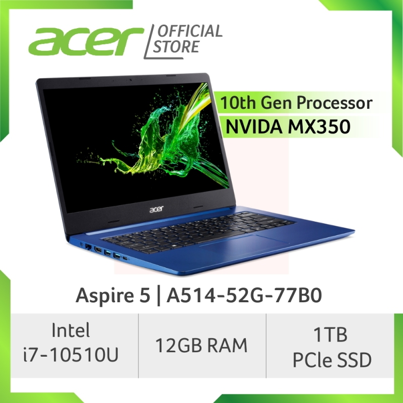 [READY STOCKS] Acer Aspire 5 A514-52G-77B0 laptop with LATEST 10th gen Intel i7-10510U processor and 12GB RAM
