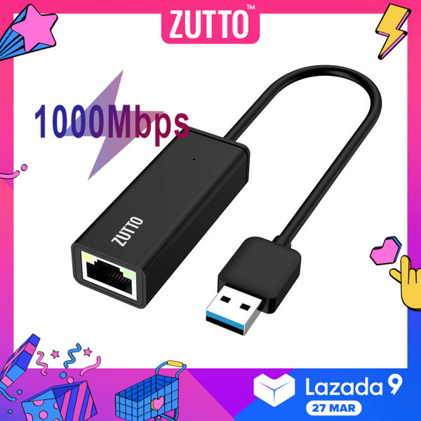 ZUTTO USB Ethernet Adapter USB 3.0 2.0 Network Hub to RJ45 Lan Internet Card for Mac OS, Linux, Windows 10-HA01