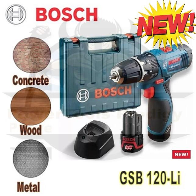 Bosch Cordless Impact Drill GSB 120-LI / (comes with carrying case, 2pcs 12V battery & 1pc charger) 6 months warranty (HOME DRILL/ BTO DRILL)