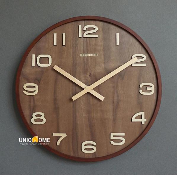 UniqHome Wooden Wall Clock Wall Clocks Wooden Wall Clock Digital wall Clocks Home Clock Office Clock Walnut Wood