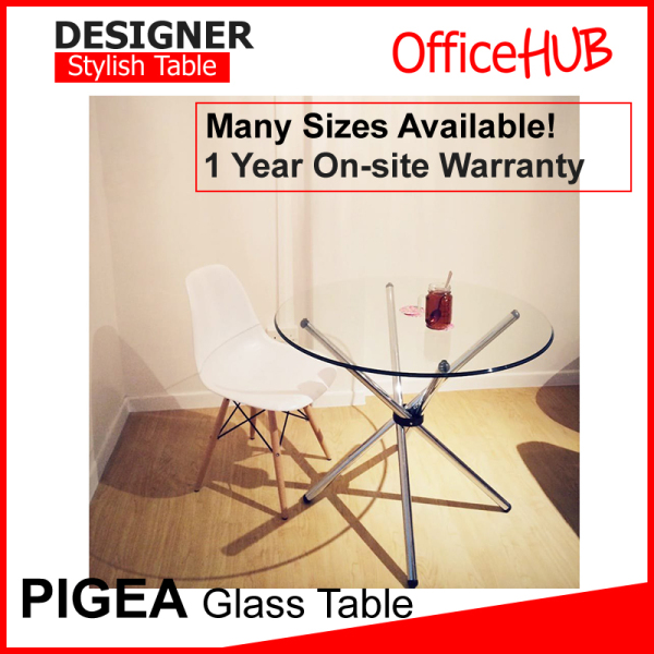 OFFICEHUB Designer PIGEA Glass Dining Table 900mm / Wooden Table / Pantry Table / Office Table / Side Discussion Table / Round Table / Glass Table / Glass Round Table / Glass Dining Table