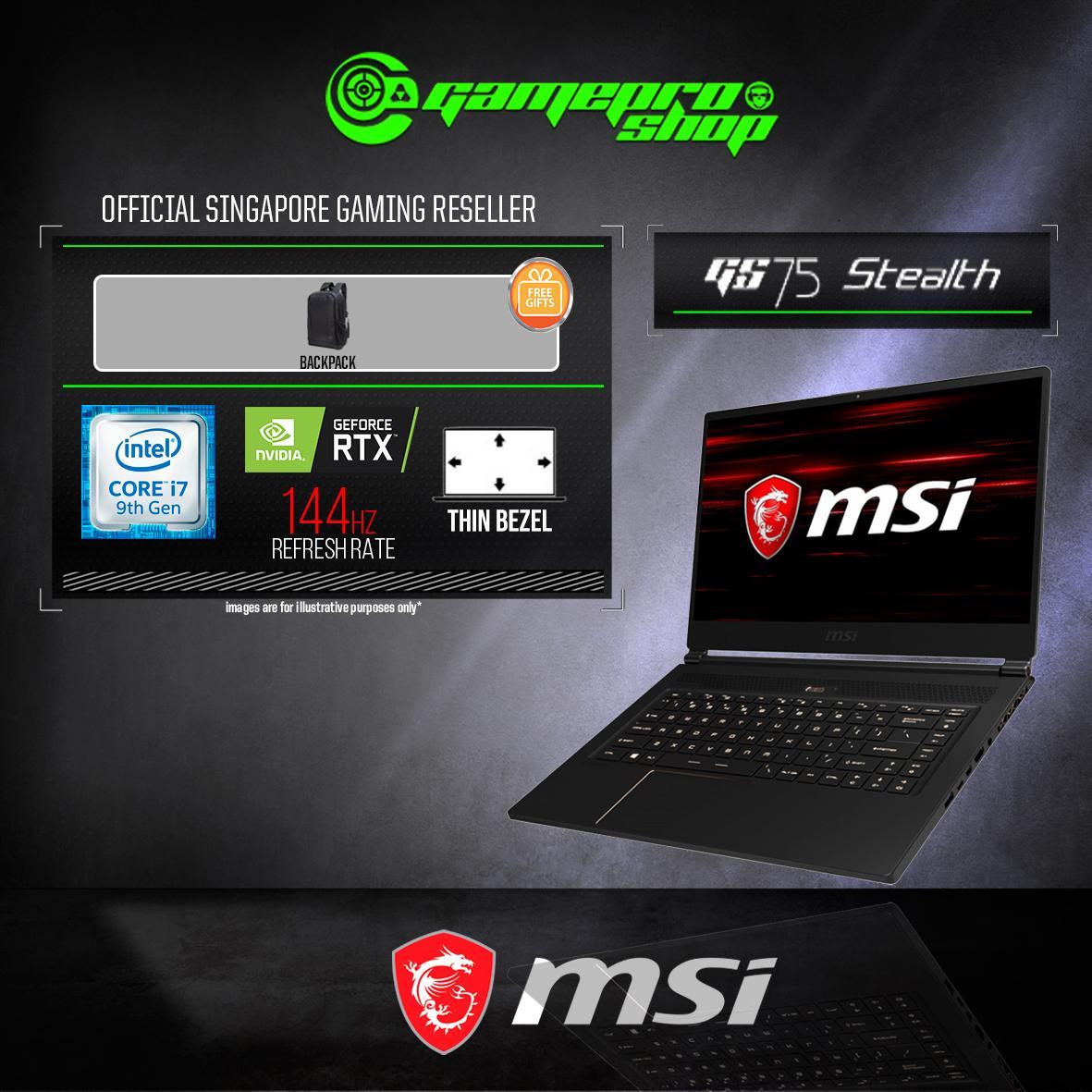 9th Gen MSI GS75 RTX2060 STEALTH 9SE - 490SG (i7-9750H / 16GB / 1TB SSD / WIN 10) 17.3 FHD 144Hz GAMING LAPTOP *COMEX PROMO*