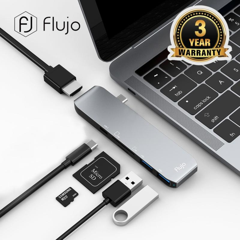 Flujo CH-33 USB Type-C hub Aluminum USB Type-C Hub Multiport Adapter Combo for MacBook Pro 2018,New MacBook,Google ChromeBook And other Type-C port devices 4K@30Hz, 4K HDMI,SD/Micro SD Cards Slots and 2 USB 3.0 Adapter (Space Grey)