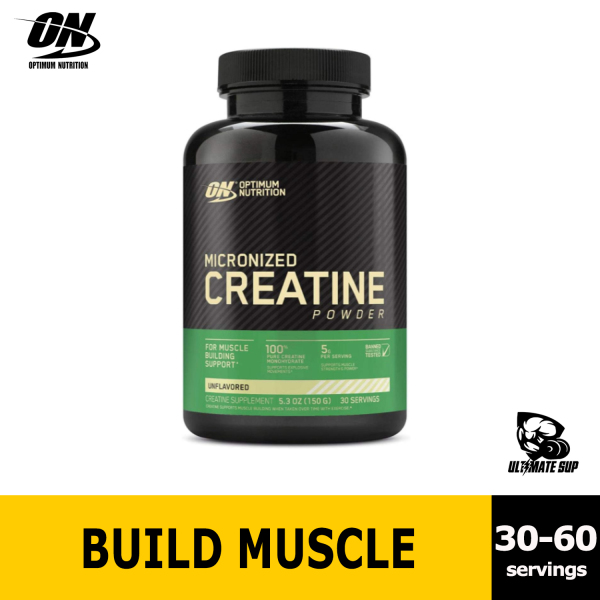 Buy Optimum Nutrition, Micronized Creatine Powder, Build Muscle, Workout Support, Unflavored, 150-300g Singapore