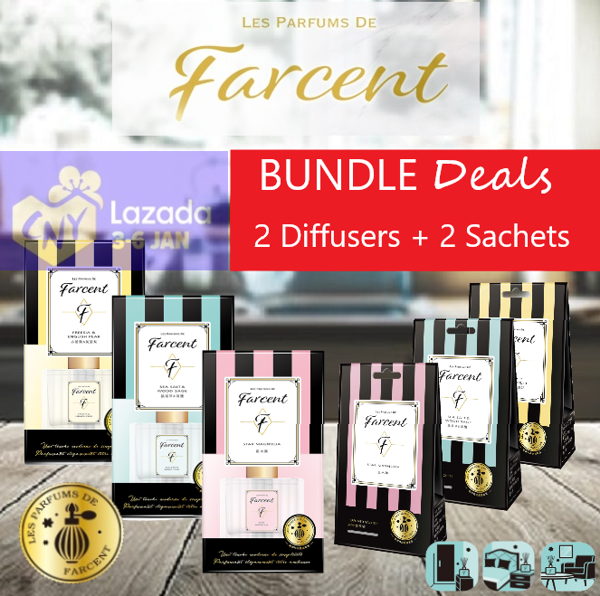 2 Farcent Fragrance Perfume Diffusers + 2 Packs Fragrance Perfume Sachets ( Freesia & English Pear , SeaSalt and Wood Sage , Star Magnolia )
