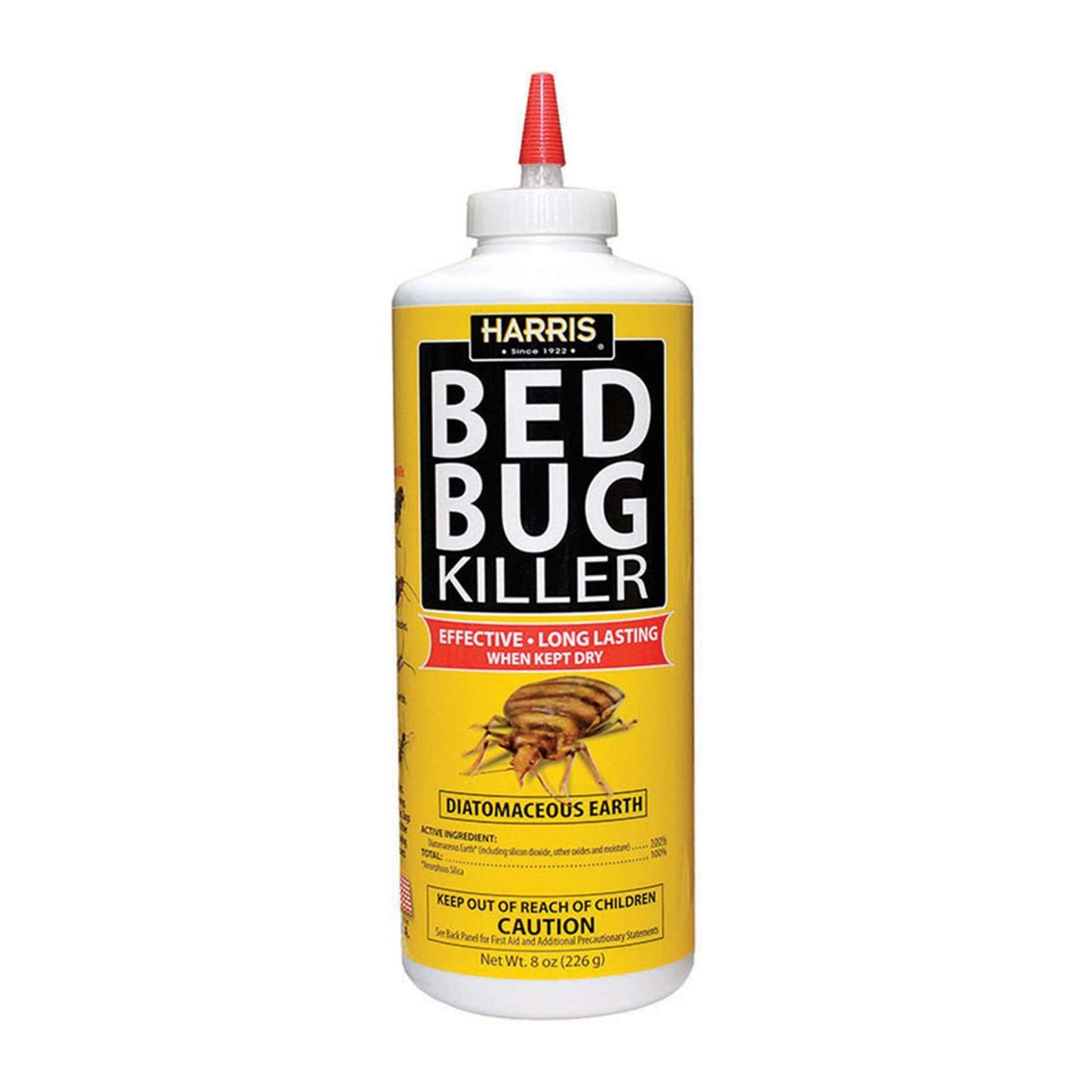 Harris Bed Bug Killer Diatomaceous Earth 8oz - Kills Bedbug adults, nymphs and hatchlings - Made in USA