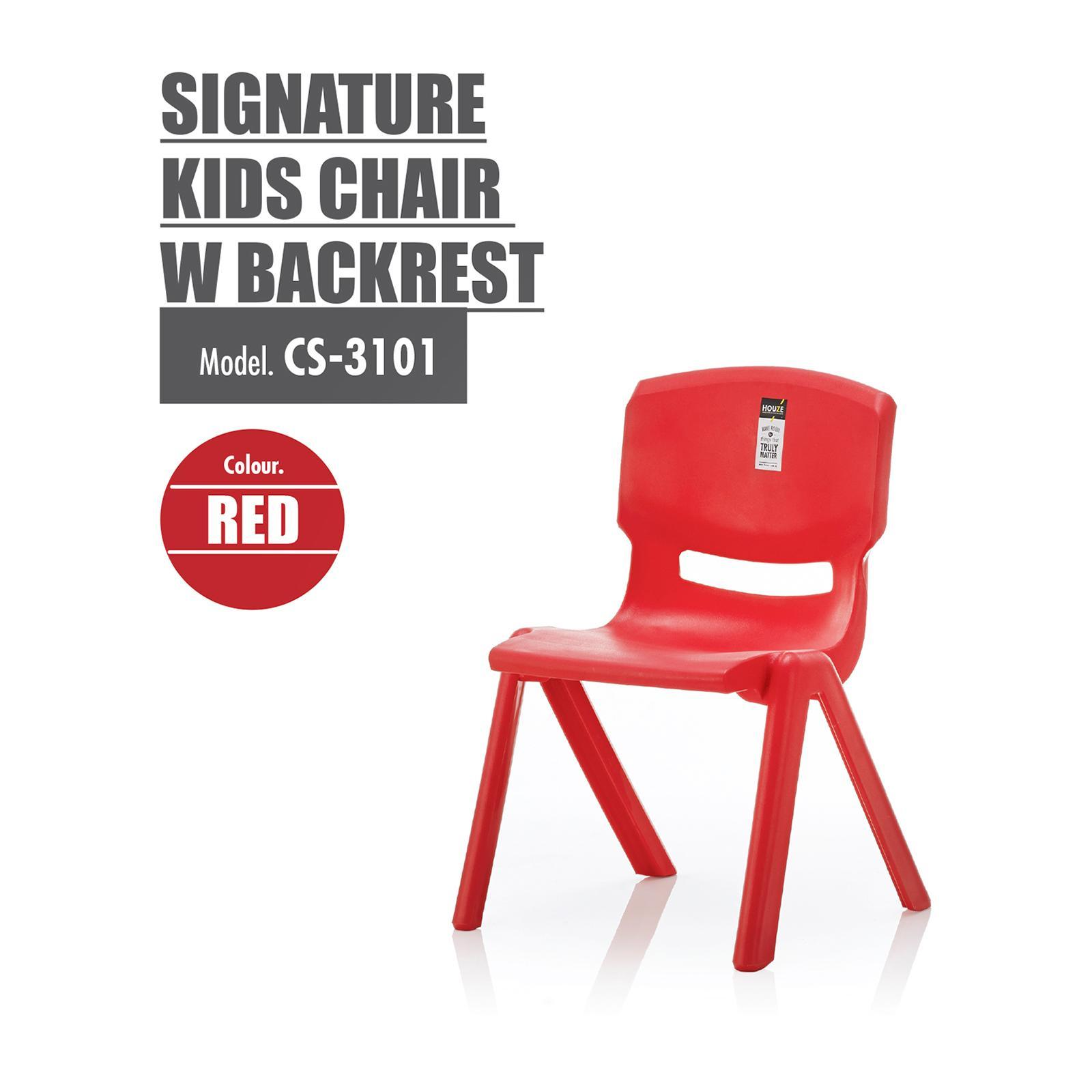 Houze Signature Kids Chair With Backrest - Red - CS-3401-RED