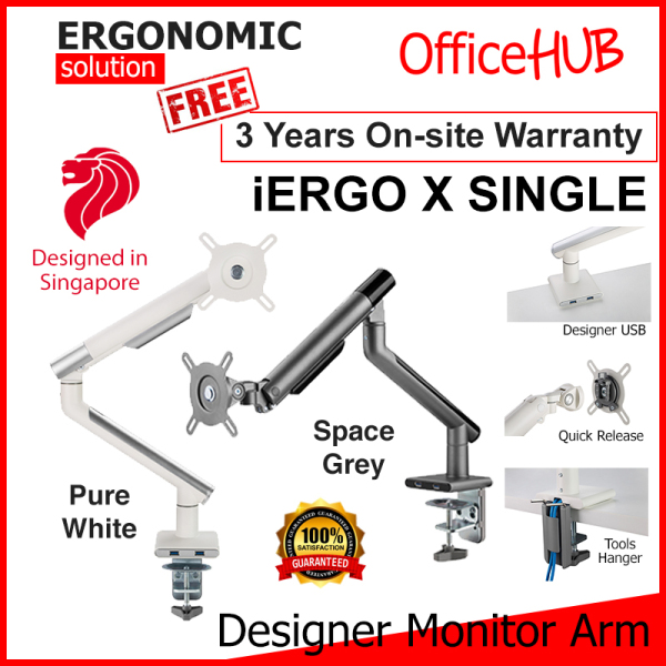 OFFICEHUB iErgo X Single Monitor Arm ★ Monitor Mount ★ Monitor Stand ★ Desk stand ★ Ergonomic Stand ★ Table Mount ★ USB 3.0 ★ Fits Monitor Screens up to 34 Inch ★ Max Weight 8 KG ★ VESA Mount ★ Height Adjustable ★ Clamp Grommet Mount To Desk ★