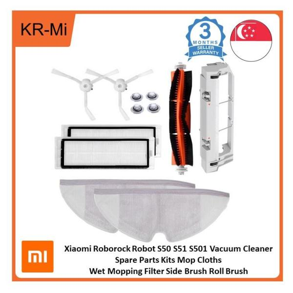 Xiaomi Roborock Robot S50 S51 S501 Vacuum Cleaner Spare Parts Kits Mop Cloths Wet Mopping Filter Side Brush Roll Brush Singapore