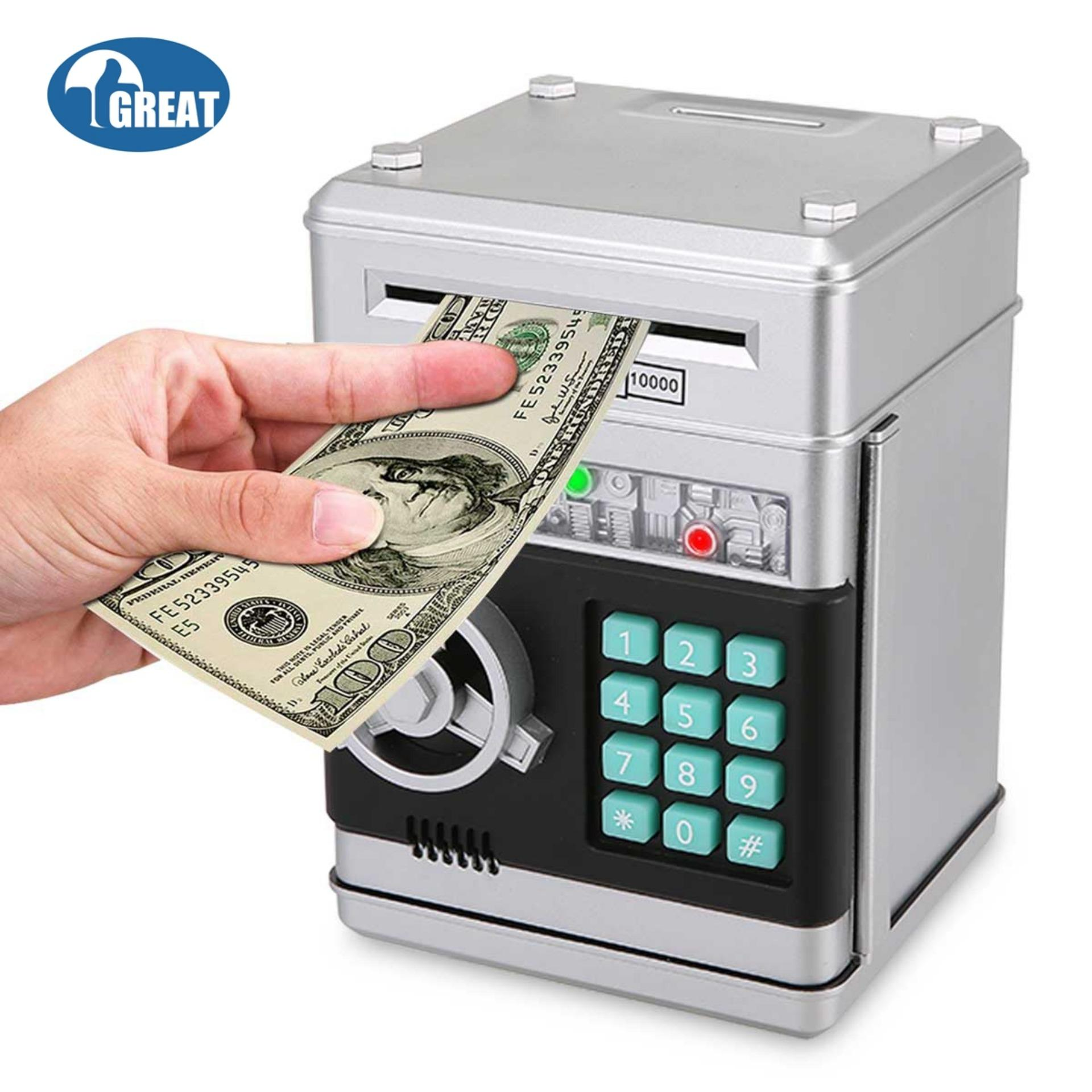 0484766af GoodGreat Cartoon Electronic ATM Password Piggy Bank Cash Coin Can Auto  Scroll Paper Money Saving Box