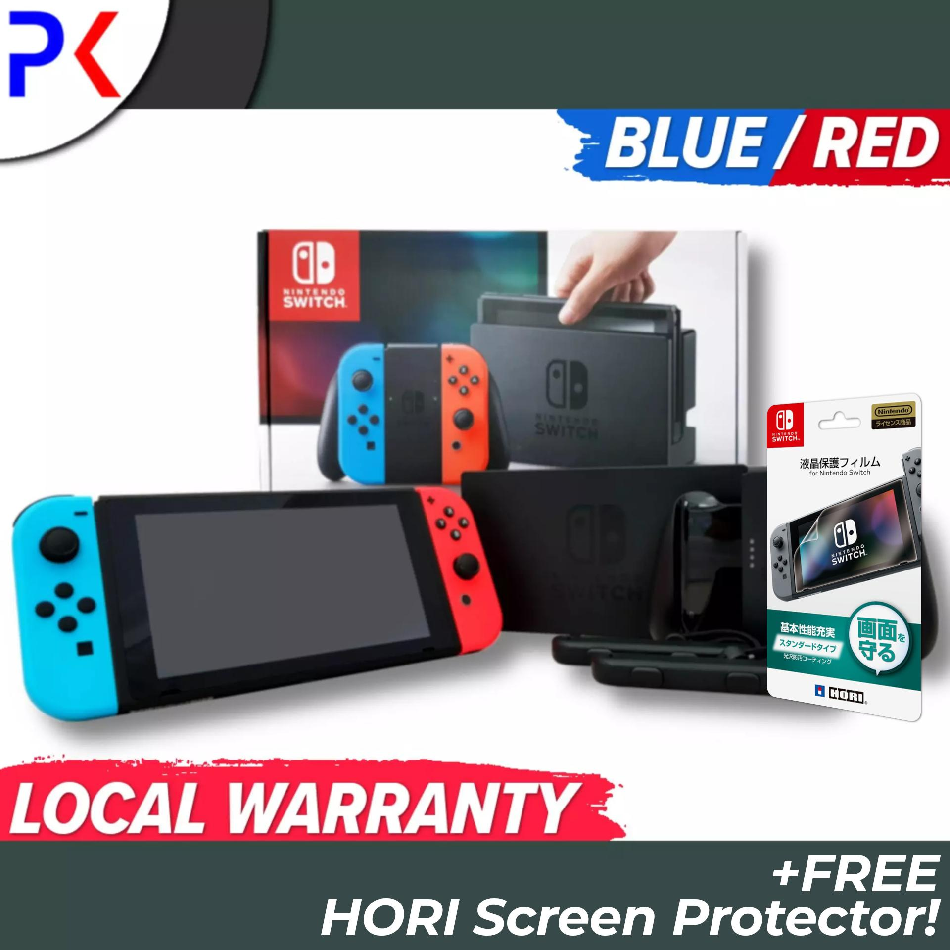 Nintendo Switch Console with Neon Blue/Red Joy Con + 1 Year Local Warranty  + Free HORI Screen Protector