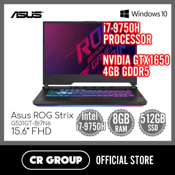 Asus ROG Strix G531GT-BI7N6 15.6 Inch FHD Gaming Laptop | NVIDIA GTX1650 4GB GDDR5 | Intel® Core™ i7-9750H | 8GB DDR4 RAM | 512GB SSD |