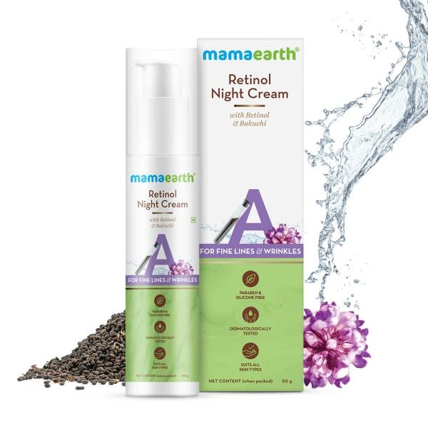 Buy Mamaearth Retinol Night Cream With Retinol & Bakuchi, 50g For Fine Lines & Wrinkles Singapore