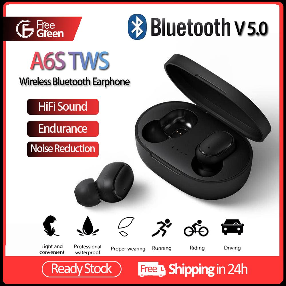 FreeGreen A6S TWS Bluetooth Earphone BT 5.0 Wireless Earbuds In Ear True Stereo Wireless Call Sports Music Headphones with Microphone Charging Box Power supply for Apple Ip/hone Sam/sung Hua/wei Op/po Xiao/mi So/ny Google No/kia Android