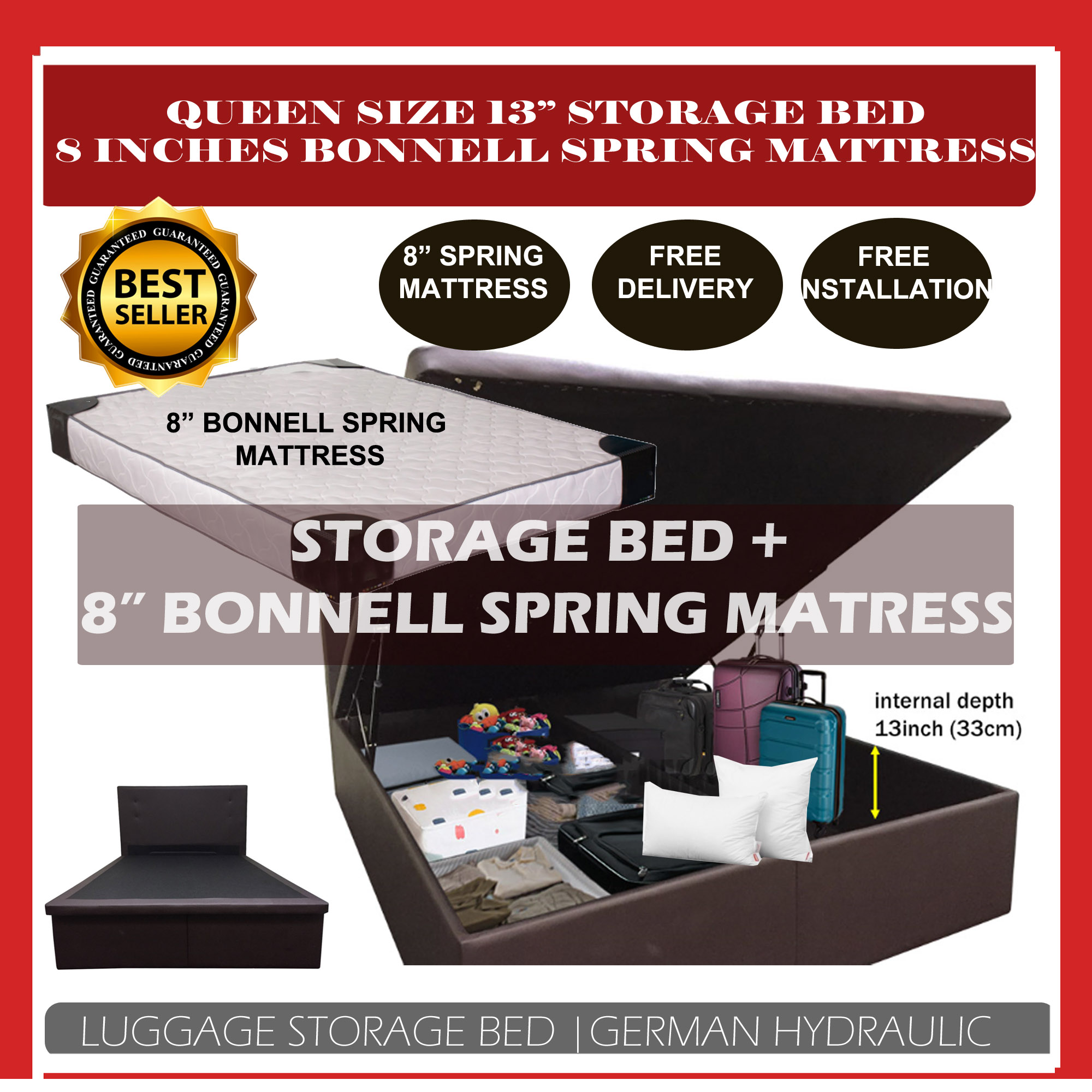 [2Year Warranty] [BUNDLE DEAL] 8 Inches Bonnell Spring Mattress + Queen Storage Bed With 13inches Internal Depth [Can put Big Luggage] (Free Delivery and Installation)