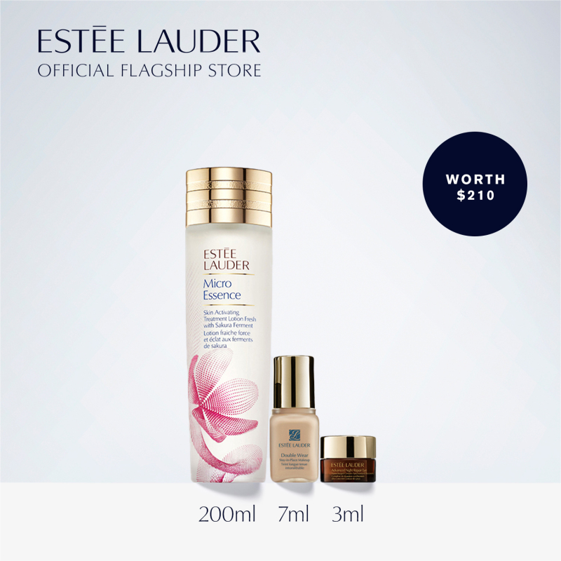 Buy [Limited Edition] Estee Lauder - 3-pcs Skincare Set including Micro Essence Treatment Lotion with Sakura Ferment 200ml, Eye Cream, Foundation (worth $210) • Radiant Skin 24/7: Repair + Renew Singapore