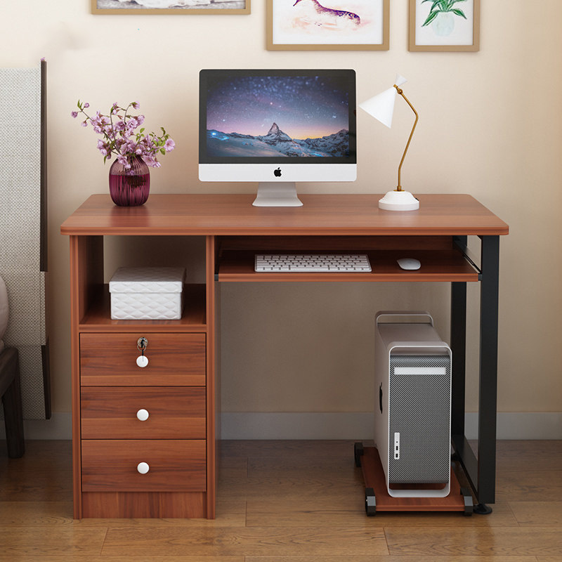 Home Office Study Desktop Computer PC Writing Table with Drawer Cabinet Storage Laptop Keyboard Shelve Black White Walnut Coffee Brown 1m, 1.2m 100cm 120cm [3 Weeks Delivery]