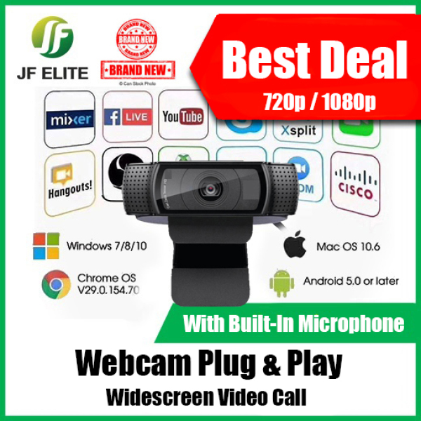 Webcam Smart Widescreen For Video Call 720P & 1080P Built In Mic Plug And Play