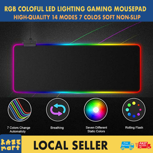 Ready stock Singapore RGB Mouse Pad Anti Slip Rubber Base Gaming Keyboard Pad Super Glow Fiber Around Non-Slip Large Mousepad Mat 14 Modes Lighting for Computer Laptop 300x800x4mm