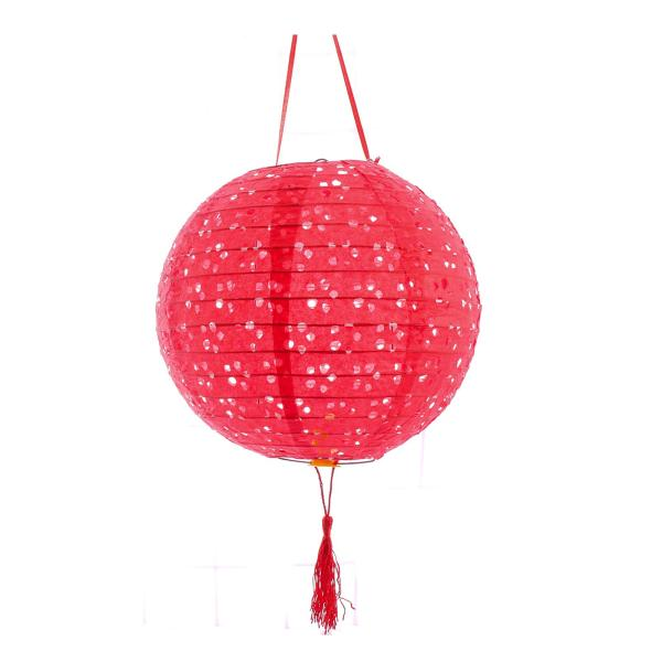 3PC 8 Inch Traditional Round Decorative Lanterns (Red)