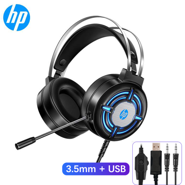 HP H120 Gaming Headset Heavy Bass Cool Lights PC Headphone with Omnidirectional Folding Noise Cancellation Microphone