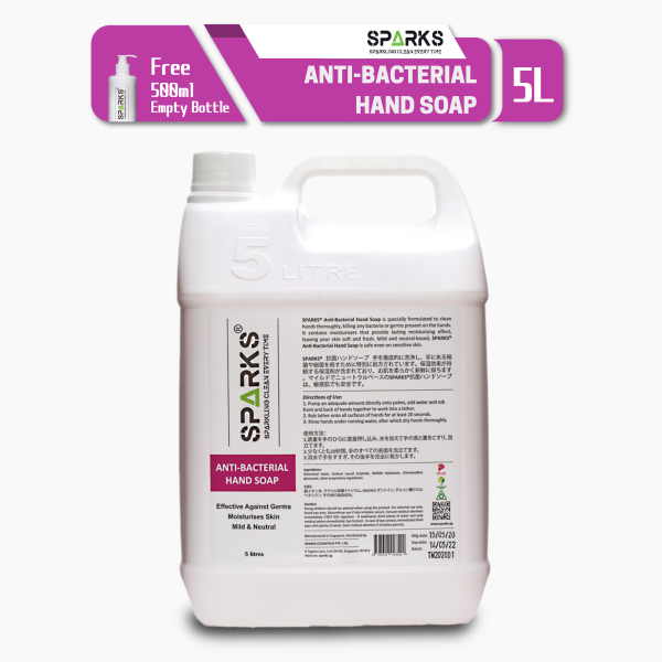 Buy Sparks Anti Bacterial Hand Soap (5 litres) - Tough on Germs (Anti Bacteria, Virus, fungi, and other microorganisms), Gentle on Skin Singapore