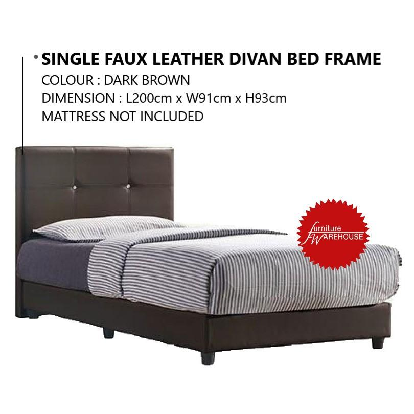 Mika Single Faux Leather Divan Bed Frame