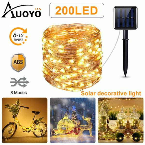 Auoyo 200 LED Solar String Lights Outdoor Lighting 8 Modes Starry Lights Copper Wire Lights Waterproof IP65 Fairy Christmas Decorative Lights for Wedding Homes Party Halloween