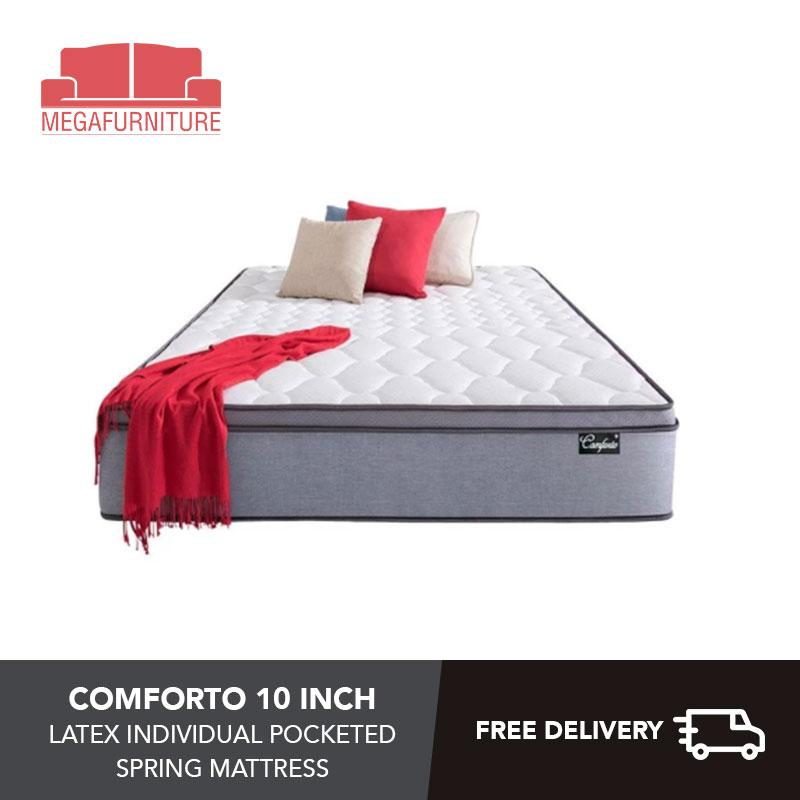 Comforto 10 Inch Latex Individual Pocketed Spring Mattress - 4 sizes Available