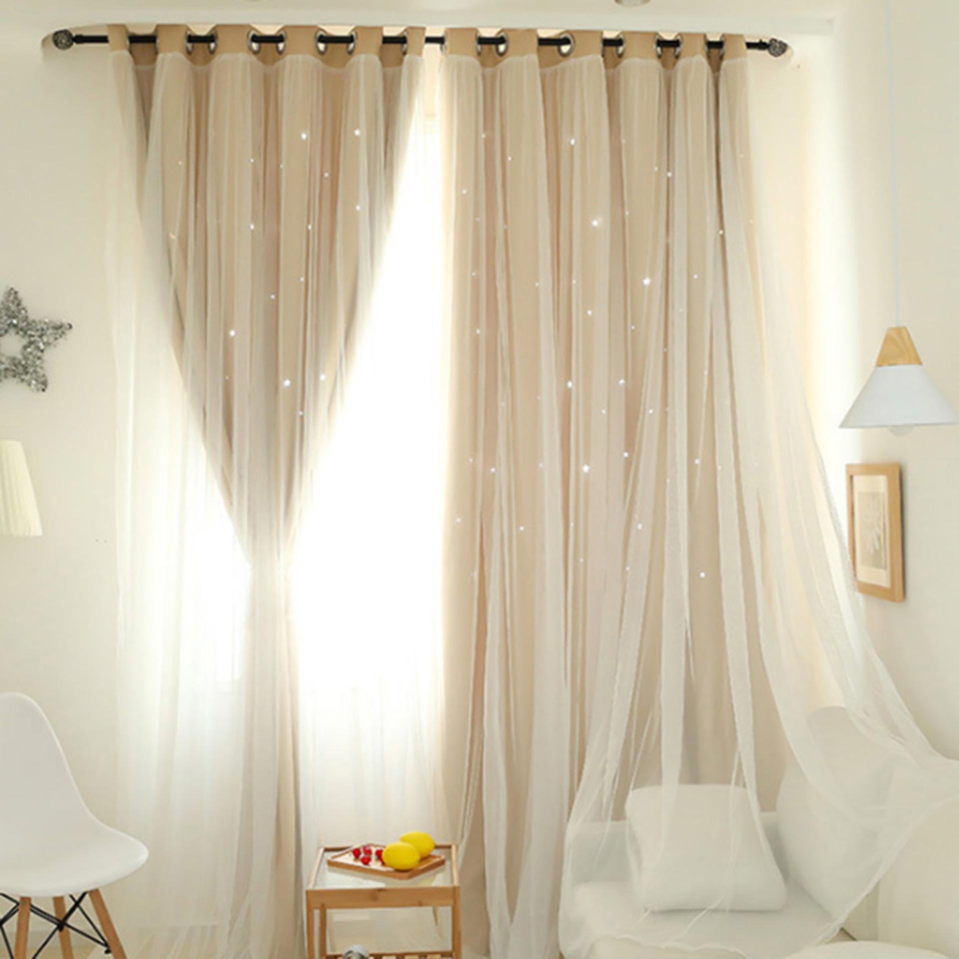 DomybestShop Hollowed Out Star Shading Window Curtain Drapes Purdah for Home Living Room Bedroom