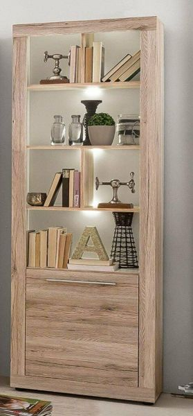 Tall Vitrine Display cabinet Oak, wine and drink cabinet, showcase cabinet, from Trendteam of Germany