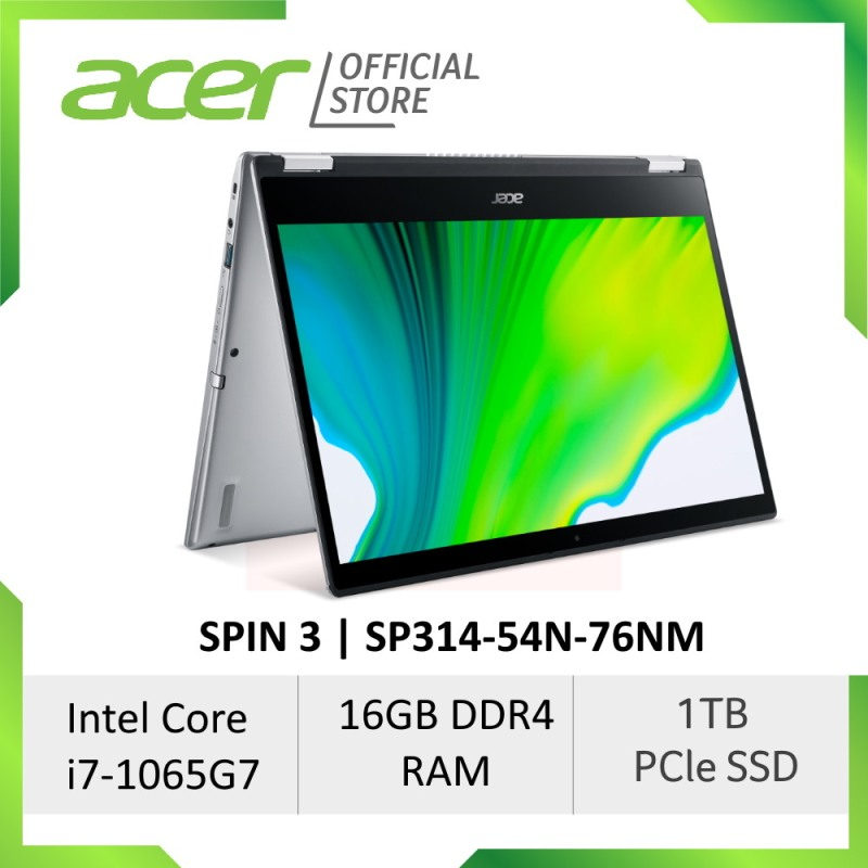 Acer Spin 3 SP314-54N-76NM (NEW) with 10th gen Intel i7-1065G7 and Intel Iris Plus Graphics laptop [2-in-1 Convertible Laptop]