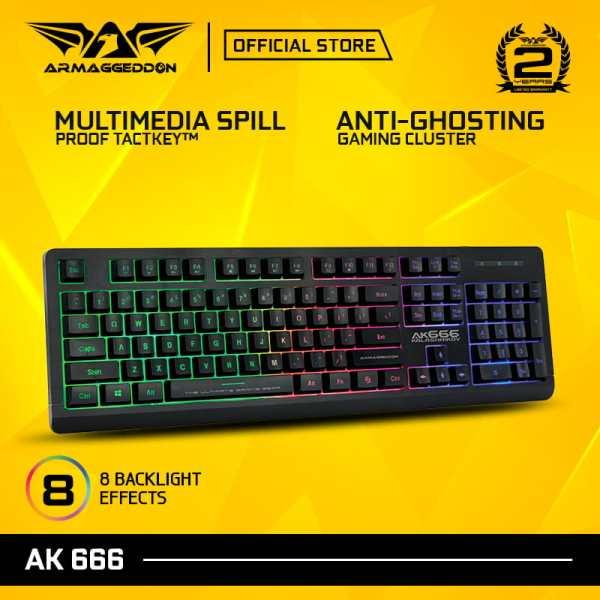 Armaggeddon Kalashnikov AK666 Anti-Ghosting And Spill Proof Backlit Keyboard - 8 Lighting Effect Singapore