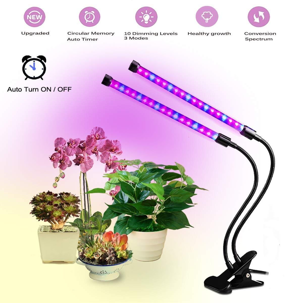 18W Dual Head Plant Grow Light Red Blue LED with 24 Hours Cycle Automatic Turn On Off Memory Timer Function, Flexible 360 Degree Clip On Gooseneck with Brightness Control, Universal USB 3A Low Power