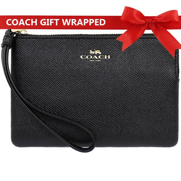 Coach Small Wristlet In Gift Box Corner Zip Wristlet In Crossgrain Leather Black  F58032 By Spreesuki.