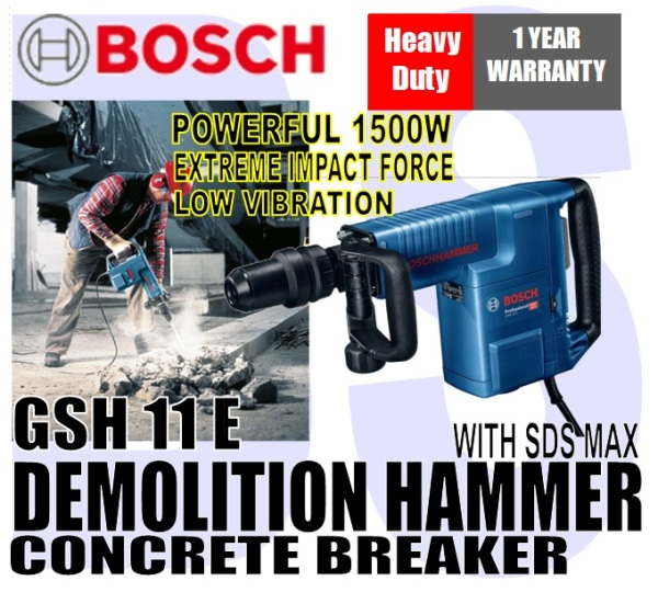 BANSOON BOSCH GSH 11 E Professional Demolition hammer with SDS-Max / Concrete Breaker. fast and effective chipping specialist. 1500W motor power.