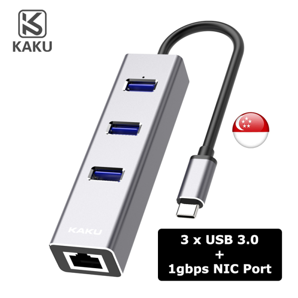 [SG] KAKU USB Type C to Gigabit NIC, 3.0 USB Hub Converter Adapter – [Expand 3 USB Port] - Local SG Seller, Fast Delivery!