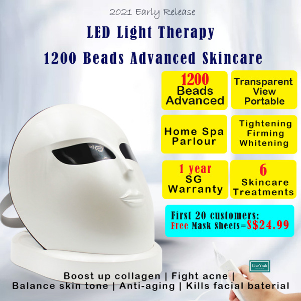 Buy (SG Warranty 1 Year) LED light mask Led facial beauty mask Skincare fight acne firming whitening balance skin tone Transparent view Eye shield protection Mobile powerbank charging portable 3 light color **1200 beads** 6 Advanced skin 2021 Early release Singapore