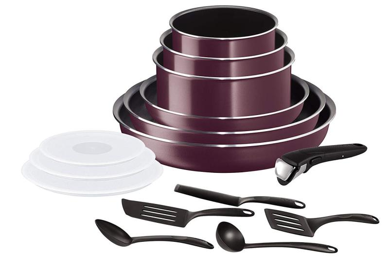 Tefal Ingenio Essential, Set 15 Pieces, All Cooktops not for Induction, Aluminum, Violet Byzantium with 16cm,18cm and 20cm glass lids- (Preorder - will arrive in 7-12 working days)(SG Seller) Singapore
