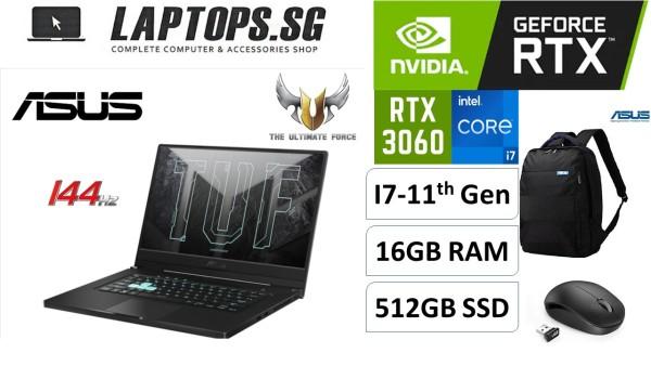 BRAND NEW LAPTOP ASUS TUF GAMING DASH FX516P INTEL i7-11370H 11TH GEN VRAM: RTX 3060 6GB GRAPHICS DDR4 16GB RAM 512GB PCIE G3 SSD 15.6 144GHz FULL HD WV DISPLAY WINDOWS 1064 BIT OS (1YEAR WARRANTY)