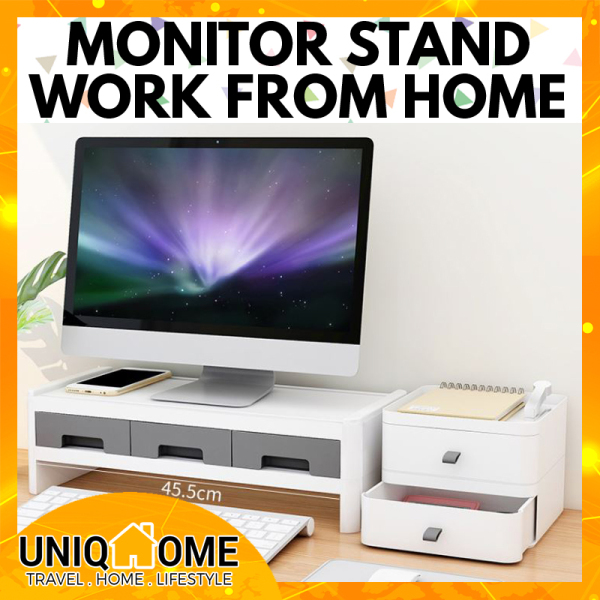 Uniqhome PC Monitor Stand computer stand Dual Tier Table Organizer Table Organiser Office Table Organizer Office table Organiser Blue Pink Grey Color